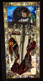 "The Four Seasons Series is a series of four stained glass panels, each approximately 45 inches by 99 3/4 inches. ""Autumn"""