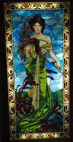 The Four Seasons Series is a series of four stained glass panels, each approximately 45 inches by 99 3/4 inches.