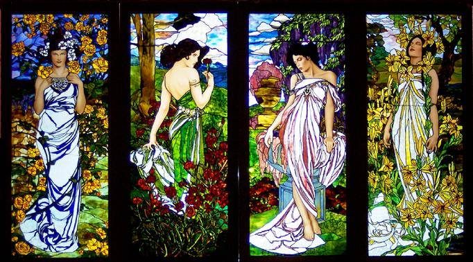"These windows are those of the Flower Series. Each lady is a separate window. They are in order as follows: Rose, Carnation, Wisteria, & Lily. Each window measures approximately 39"" x 86."""